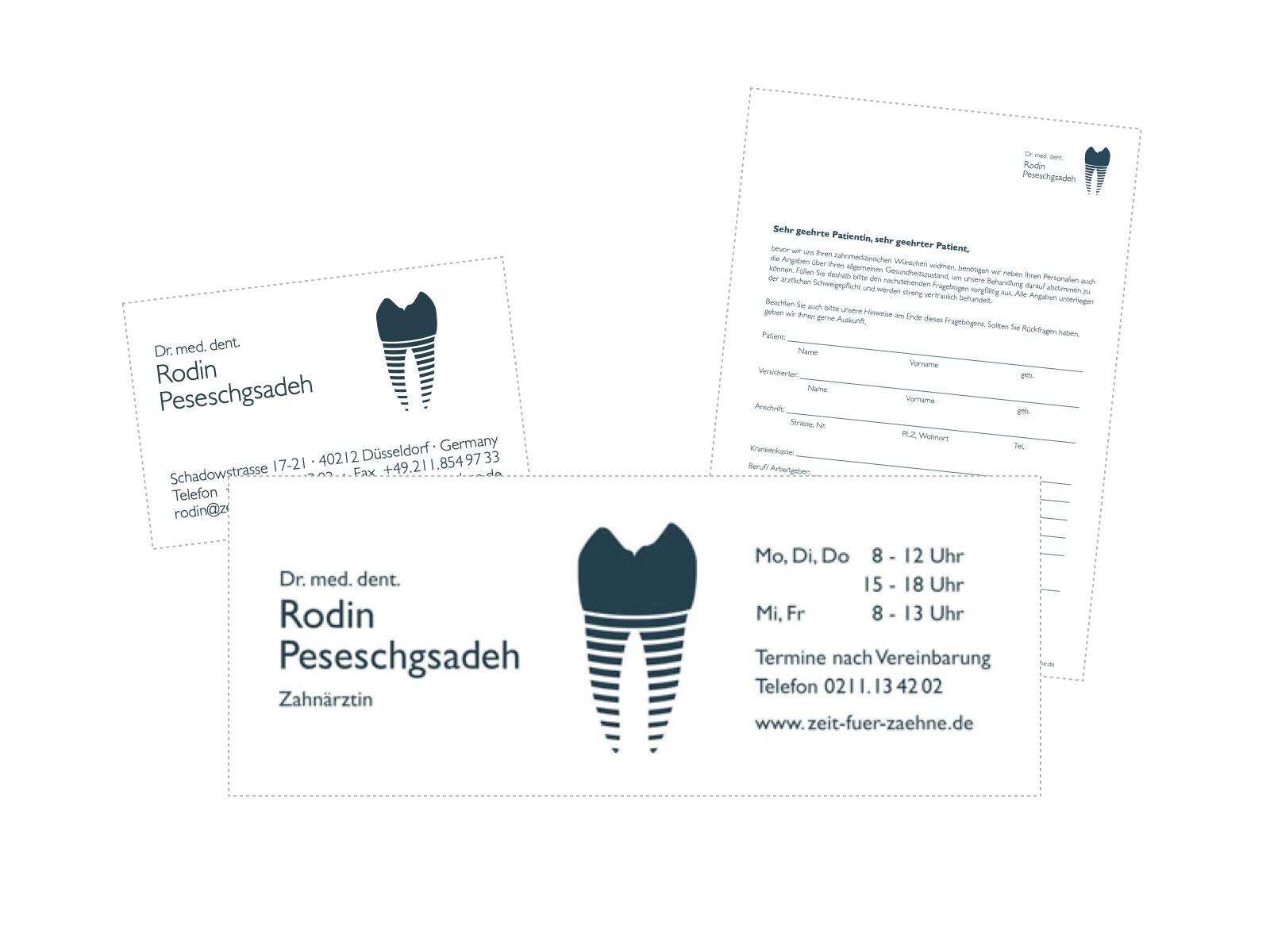 Gestaltung Geschäftsausstattung Zahnarztpraxis