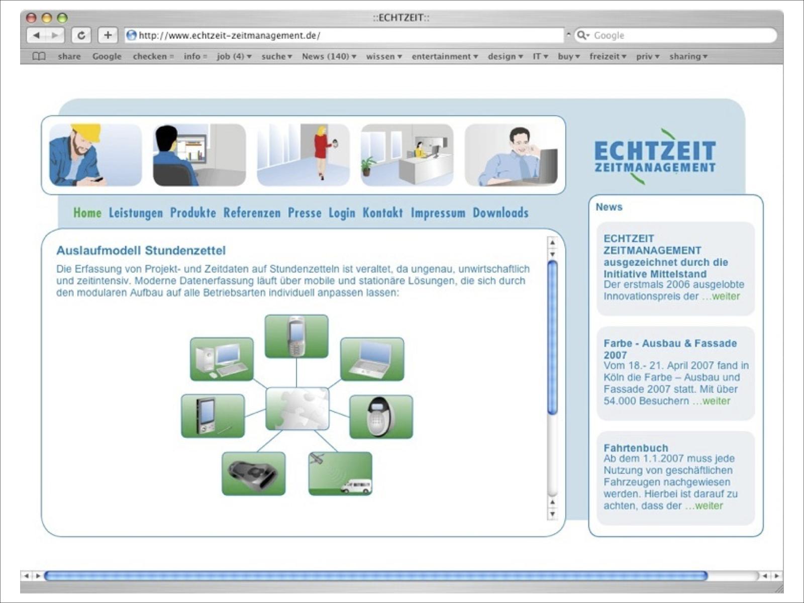 Webseite Echtzeit Zeitmanagement