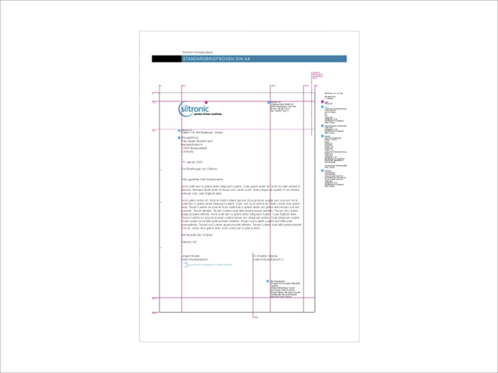 Gestaltung A4-Briefbogen Siltronic