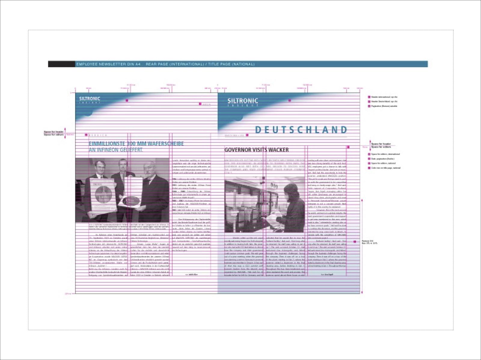 Entwurf Gestaltung Mitarbeiterzeitung Siltronic