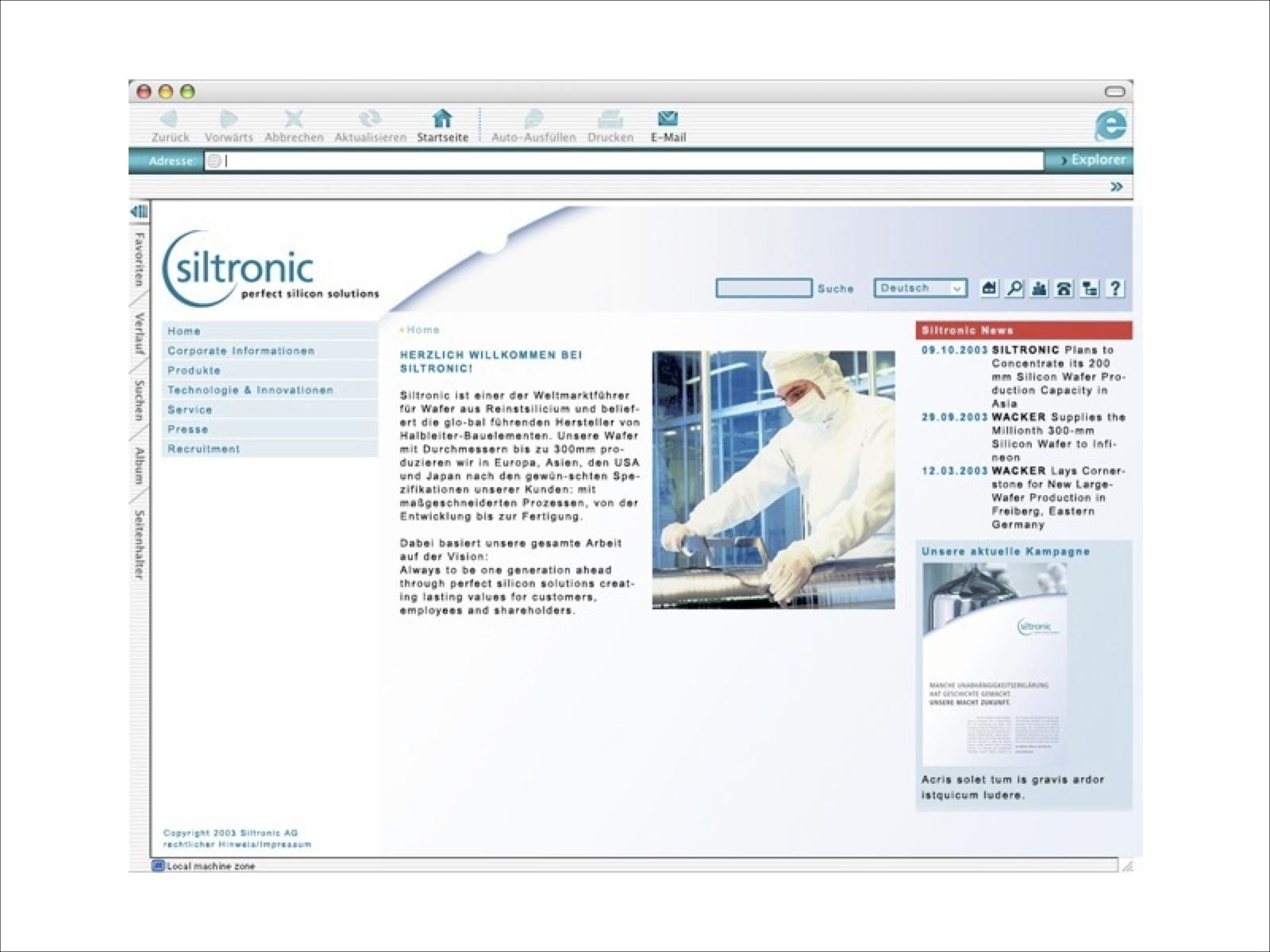 Entwurf Gestaltung Internet Siltronic