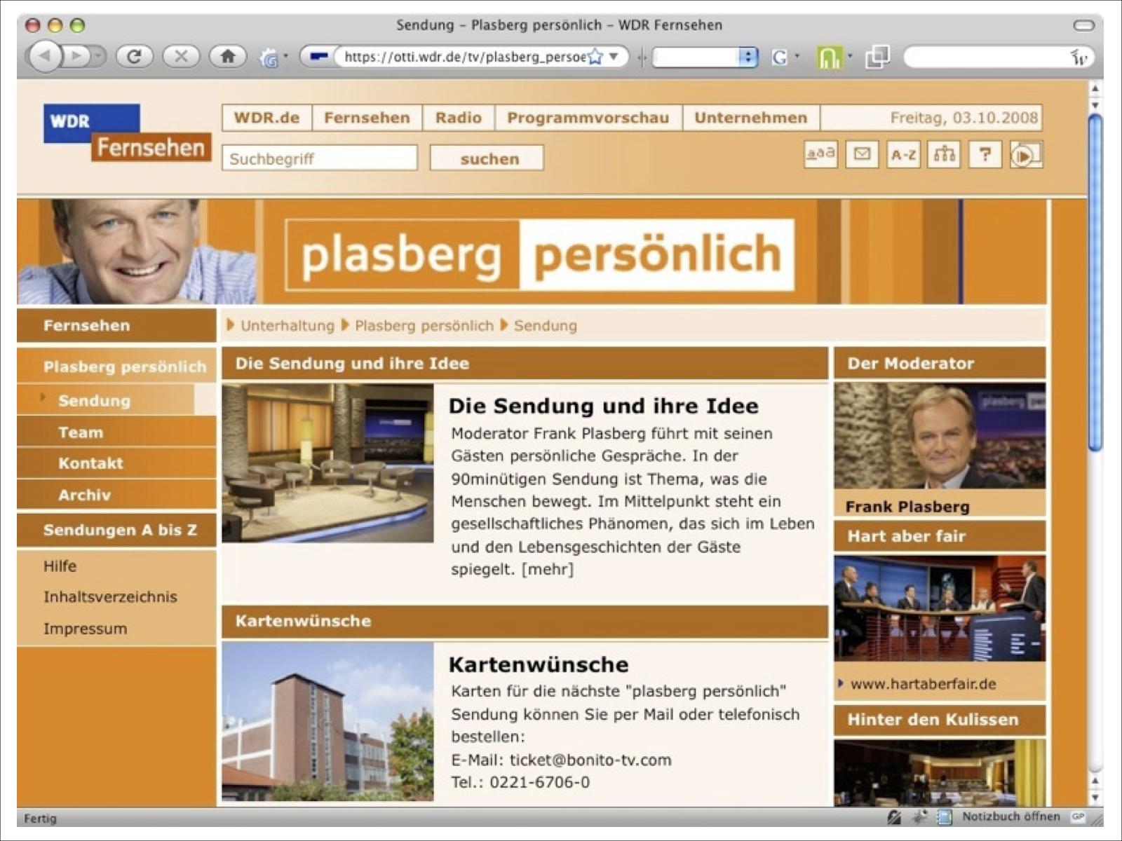 Webseite WDR Plasberg persönlich