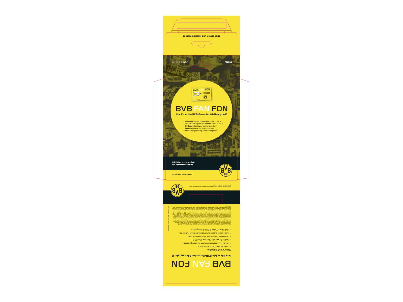 Verpackung von SIM-Karten für BVB-FAN-Fon